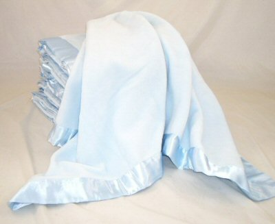 Blue Satin Trim Blanket