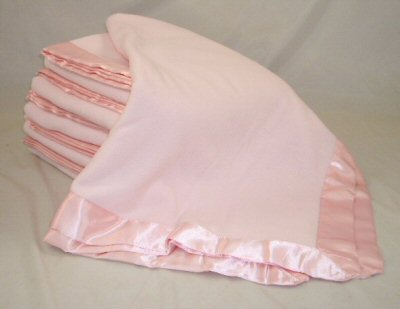Pink Satin Trim Fleece Blanket