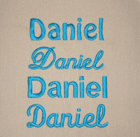 Sponge / Princess Script / Block / Special Script: www.toddlerock.com/personalization_tips/daniel_aqua_fonts.htm