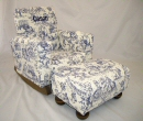 Blue Circus Toile Toddle Rock Personalized with Sponge in Navy & Toddleman