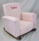 Gingham Pink Check Toddle Rock Personalized with Sponge in Hot Pink