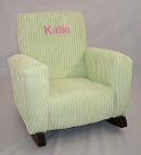 Green Chenille Toddle Rock Personalized with Sponge in Hot Pink