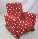 Red & White Polka Dot Toddle Rock Personalized with Sponge in Aqua