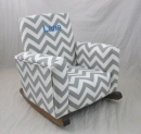 Zig Zag Gray Toddle Rock Personalized with Block in Blue