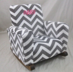 Zig Zag Gray Minky Cuddle Toddle Rock Personalized with Sponge in Hot Pink
