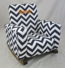 Zig Zag Navy Toddle Rock personalized with Sponge in Orange