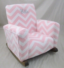 Zig Zag Pink Minky Cuddle Toddle Rock Personalized in Princess Script with Gray