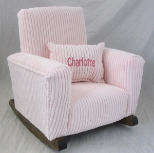 Smooth Pink Chenille Toddle Rock & Personalized Puff Pillow